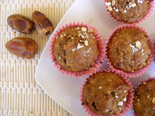 banana date muffins plate