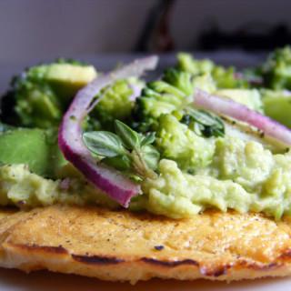 Recipe Inspiration: Broccoli, Avocado and Sweet Pea Hummus Socca