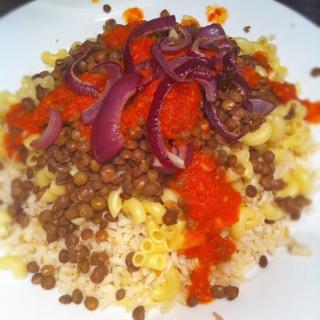Vegan MoFo #11: Brown Rice Koshary (Egyptian Lentils and Rice)