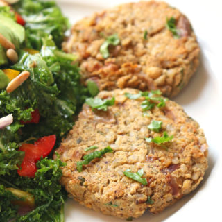 Za'atar Spiced Brown Rice Chickpea Burgers